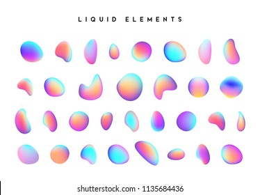 Set isolated elements of holographic chameleon design palette of shimmering colors. Modern abstract pattern, colorful fluid paint design. Trendy art background. Gradient futuristic shapes