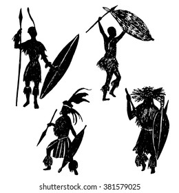set of isolated elements ink sketch silhouettes Zulu warriors vector illustration