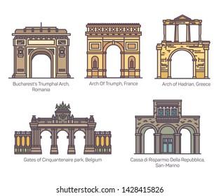 Set of isolated european famous arch or sightseeing arcs in color. Bucharest and Paris Triumphal archway. Hadrian and Cassa di Risparmio della Repubblica, Gates of Cinquantenaire Park.Architecture