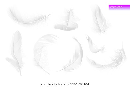 Set of isolated falling white fluffy twirled feathers on white background in realistic style. Vector Illustration