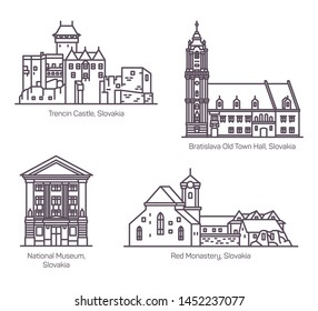 Set of isolated famous vintage architecture buildings of Slovakia. National museum and Trencin castle, Old town hall of Bratislava and Red Monastery.Landmarks for tourist sightseeing.Classic buildings