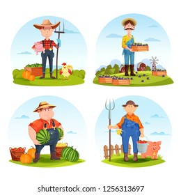Set of isolated farmers with animals or gardeners with vegetables. Man with pig and hen, with plum and watermelon, pitchfork. Agriculture and farm harvest, village crop theme