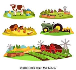Set of isolated farms at countryside, village landscape with cow and milk cans, plums near barn and mills, hens and eggs, tractor with vegetables, garden with beets and mills. Village and food theme