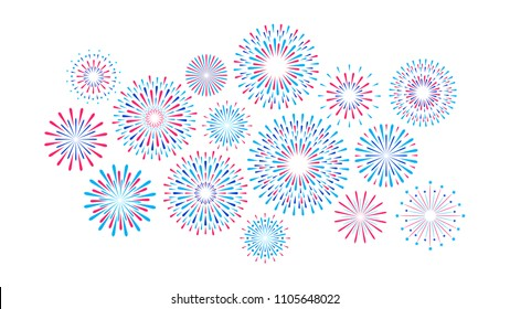 Set of isolated festive fireworks on a white background. Vector flat illustration