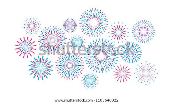 Set of isolated festive fireworks on a white background. Vector flat illustration