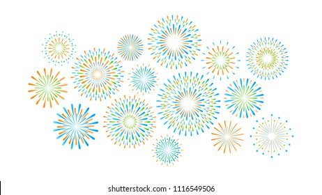 Set of isolated festive gree, blue, orange fireworks on a white background. Vector illustration