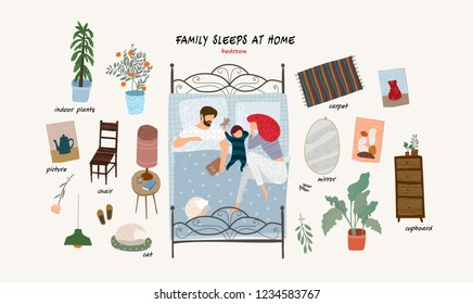 set of isolated flat vector illustrations of sleeping happy family with a child at home in bed and objects of interior and furniture in a bedroom in an apartment