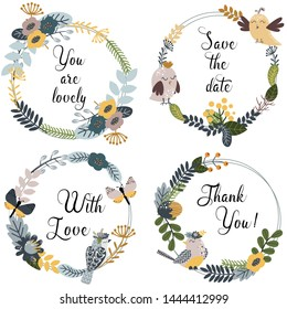 set of isolated frames with birds and flowers - vector illustration, eps