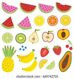 set of isolated fruits - vector illustration, eps