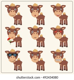 Set of isolated funny camel in different poses in cartoon style.
