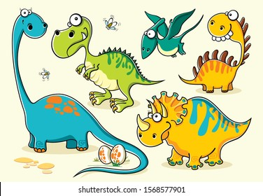 Set of isolated funny cartoon dinosaurs