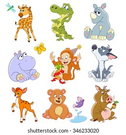 set of isolated funny cartoon icons of giraffe with dragonfly, crocodile, shy rhino, hippo with butterfly, xmas monkey with pineapple, lonely howling wolf, young deer, bear with fish, boar with acorn