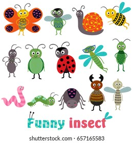 set of isolated with funny insect - vector illustration, eps
