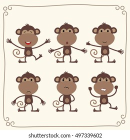 Set of isolated funny monkey in cartoon style.