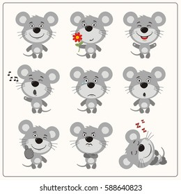 Set of isolated funny mouse in different poses in cartoon style.