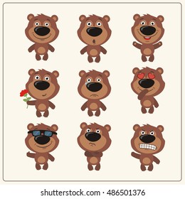 Set of isolated funny teddy bear in different emotions and poses in cartoon style.