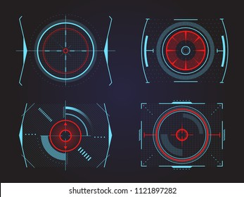 Set of isolated futuristic crosshair for game aiming, target for high tech ui or display hologram. Circular aim or radar data. Military and war, weapon and gun, optical rifle and location, radar theme