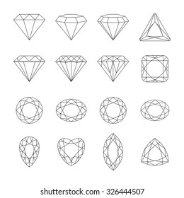 Set of isolated gem stones.Vector set of diamond design elements. Precious gem stones set of forms.