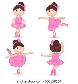 set of isolated girl ballerina - vector illustration, eps
