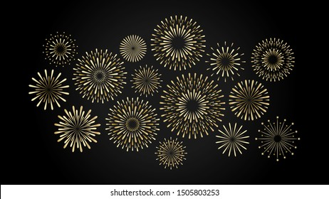 Set of isolated gold festive fireworks on a black background. Vector flat illustration.
