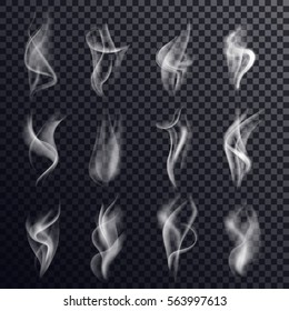 Set of isolated gray or white smoke or steam, vapor or smog on transparent background or backdrop. Messy chemical curve or trail, haze or mist, abstract background and hookah smoking theme.
