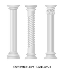 Set of isolated greek and roman, egypt columns. Doric and corinthian, tuscan or romanesque column. Ancient greece and rome pillar. Antique classic historical monument for temple. Old mediterranean art