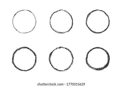Set of isolated grey oil pastel chalk brush circle stamp frames