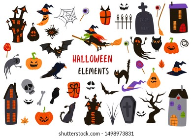 set of isolated halloween elements - vector illustration, eps