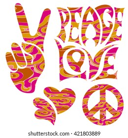 set of isolated hand drawn elements in Hippie Retro style 1960s, 60s, 70c Peace and Love, of Pacific character, two thumbs up and hearts.