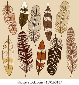 Set of isolated hand drawn feather icons