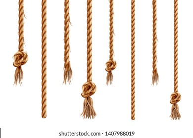 Set of isolated hanging ropes with tassels. 3d hemp string with brush and frayed knot. Realistic knotted nautical thread. Tied ring or bell whipcord. Nautical or marine vertical fiber. Straight cable