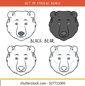 Set of isolated heads of bear in color, lines. Elements for labels and advertising production. Print for the press