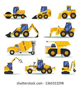 Set of isolated heavy trucks for industrial work. Dump and digger, unloading vehicle and concrete mixer, bulldozer and tipper, yellow excavator, dumper. Heavy car and lorry, large automobile.Machinery