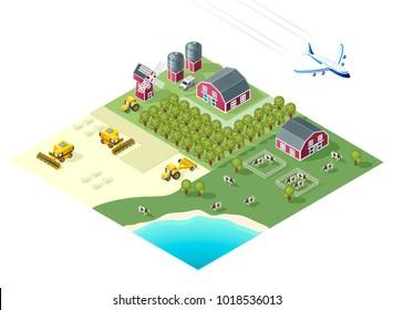 Set of Isolated High Quality Isometric City Elements. Farm on White Background