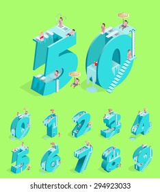 Set of Isolated High Quality Isometric Blue Numbers on Green Background ( Zero , One , Two , Three , Four , Five , Six , Seven , Eight and Nine ). Vector Illustration.