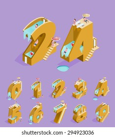 Set of Isolated High Quality Isometric Yellow Numbers on Purple Background ( Zero , One , Two , Three , Four , Five , Six , Seven , Eight and Nine ). Vector Illustration.