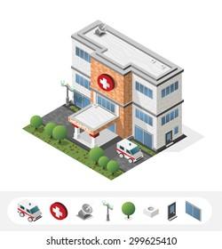 Set of Isolated High Quality Isometric City Elements. Hospital on White Background.