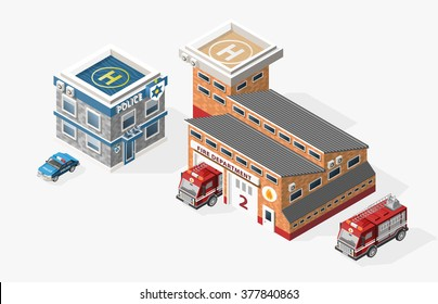 Set of Isolated High Quality Isometric City Elements. Fire Department and Police Station on White Background.