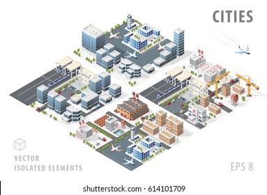 Satz von isolierten, qualitativ hochwertigen, individuellen Stadtplan auf weißem Hintergrund