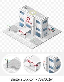 Set of Isolated High Quality Isometric City Elements . Hospital on Transparent Background