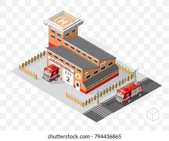 Set of Isolated High Quality Isometric City Elements . Fire Department on Transport Background