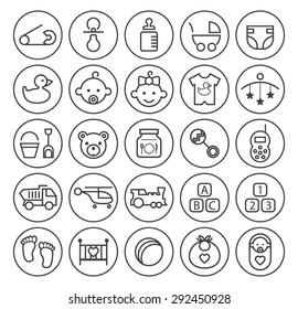Set of Isolated High Quality Universal Standard Minimal Simple Black Thin Line Baby Icons on Circular Buttons on White Background.