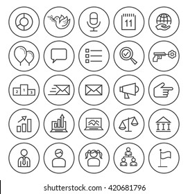 Set of Isolated High Quality Universal Standard Minimal Simple Black Thin Line Political Icons on Circular Buttons on White Background.