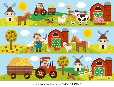 set of isolated horizontal banners with farmer and pets - vector illustration, eps