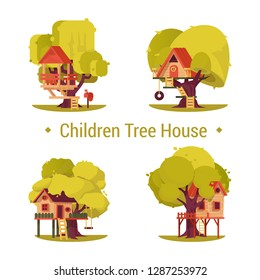 Set of isolated houses for children on trees. Kids hut at yard or forest. Kinder construction with seesaw and mailbox, tyre and ladder. Preschool treehouse for boys and girls. People activity, summer