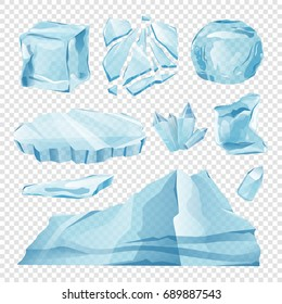 Set Isolated ice caps snowdrifts and icicles elements winter decor vector on transparent background. Ice cube with transparency, 3d vector set. Snowy elements on white background. Template for design