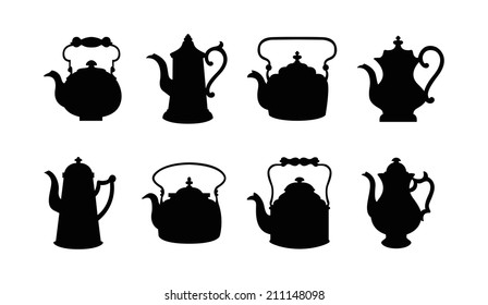 Set of isolated icon silhouette Kettles, Teapots, Coffee pot.  Abstract design logo. Logotype art - vector