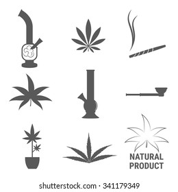 Set of isolated icons on a theme cannabis