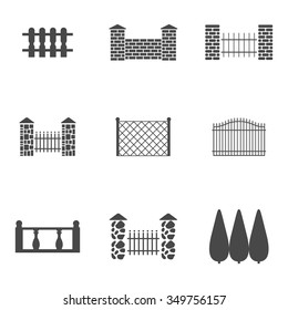 Set of isolated icons on a theme fence