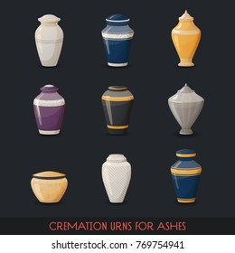 Set of isolated icons of urns for cremations or container with ashes, vase or pot for dust, ancient or retro amphora. Burial and dead man, funeral and pottery, utensil and crockery theme